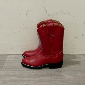 Justin Red Cowboy Western Boots Shoes Red Size 9